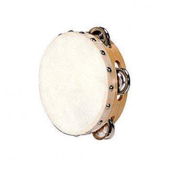 Fuzeau Tambourin Peau Naturelle 15 CM + Cymbalettes