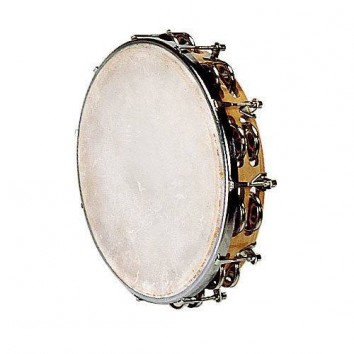 Fuzeau Tambourin Peau Naturelle 25 CM + Cymbalettes